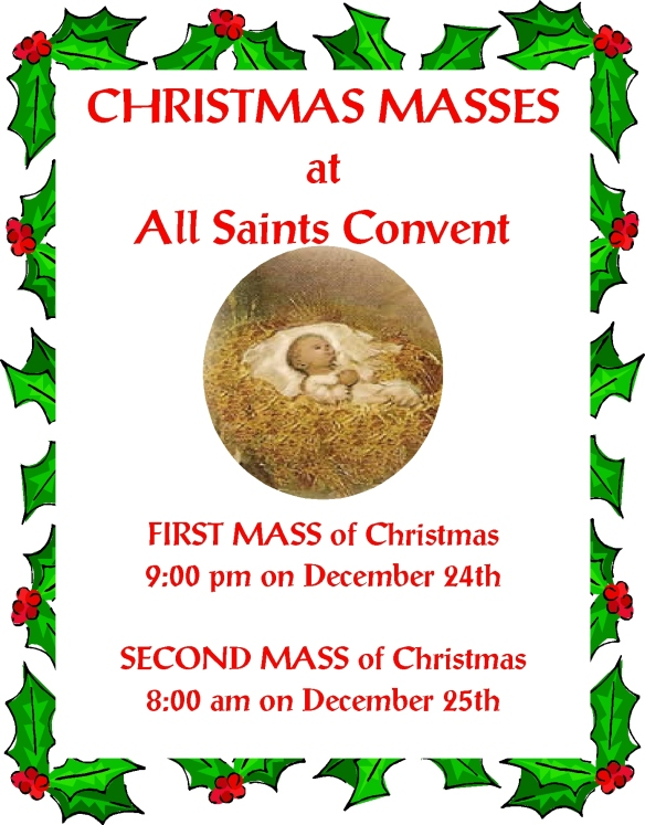 +  Christmas Masses at All Saints Convent  +