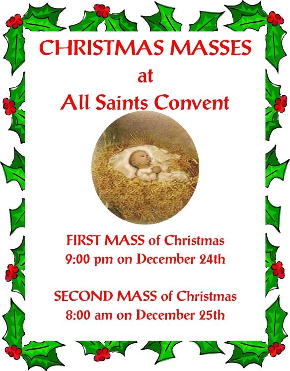 +  Christmas Masses at All Saints Convent  +
